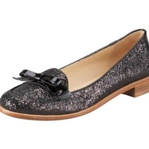 Kate Spade Black glitter Cora Loafer 8.5